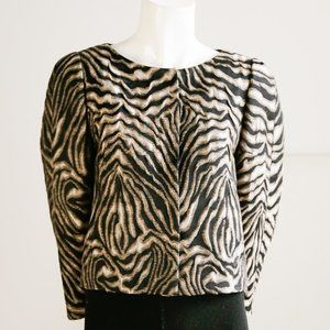 Boss Hugo Boss Textured Zebra Print Cropped Blazer
